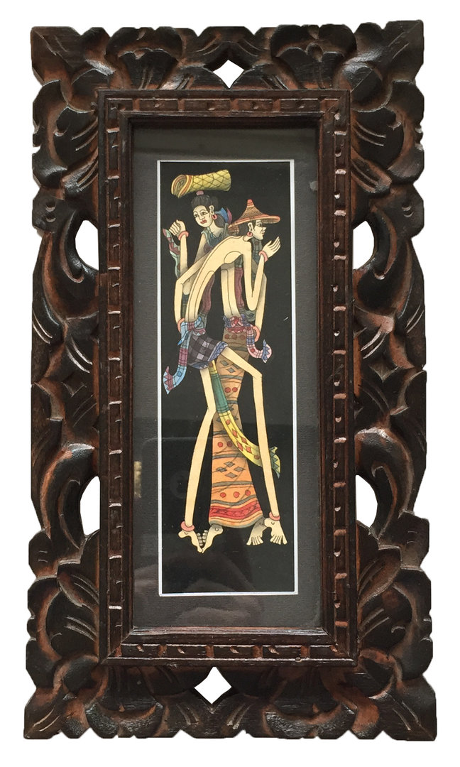 Bali Öl Gemälde Holzrahmen Glas Unikat Rahmen