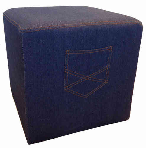 Jeans Hocker Denim Ottoman Sitzhocker Route 66
