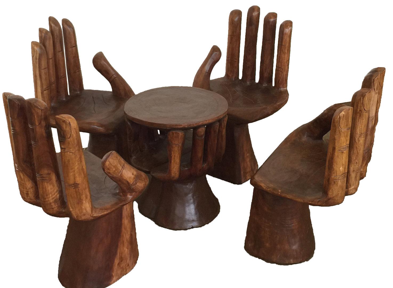 sitzgarnitur hand stuhl tisch 5tlg bali deko hocker. Black Bedroom Furniture Sets. Home Design Ideas