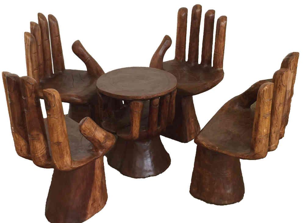 Sitzgarnitur Hand Stuhl Tisch 5tlg Bali Deko Hocker