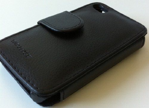Totalcase Booklet Leder PU Tasche Schwarz Apple Iphone 4 4s